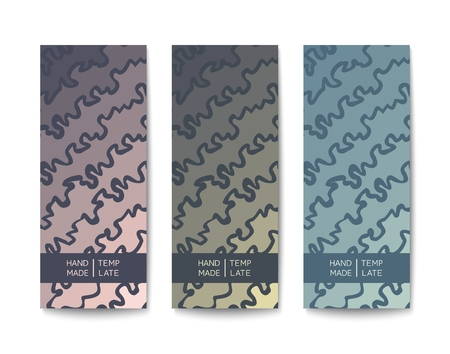 Abstract banners with a doodle drawing pattern. Colored template in pastel tones. Flat Vector design Иллюстрация