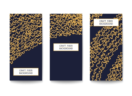 Three vertical flyers with a pattern of abstract yarns and fibers. Black and Gold design. Flat Vector template