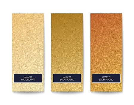 Three modern look banners with luxury elegant pattern and golden color gradient. Vector illustration