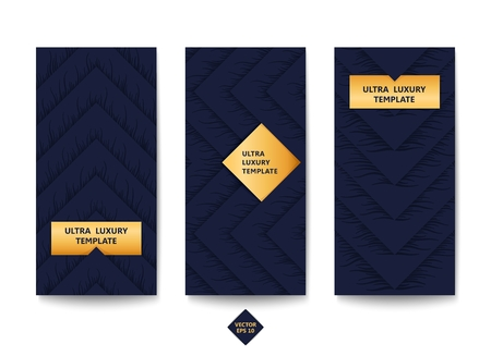 Set of modern banners. Layered design with halftone in the form of quirky wavy lines. Vector template