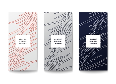 Simple graphic banner with wavy lines pattern. Minimal lineart design. Vector template Illustration