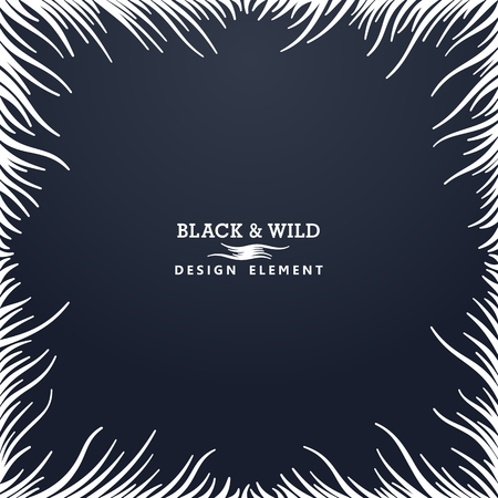 Black and Wild. Abstract composition from free form wavy lines.