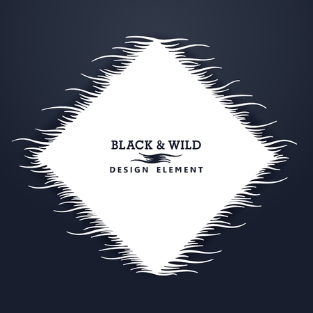 Black and Wild. Rhombus composition from free form wavy lines. The motion effect on the horizontal. Vector design elements.