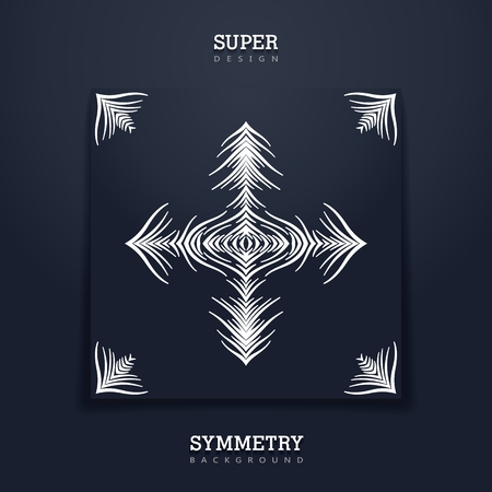 Square creative card with tribal stylized print. Abstract symmetry composition from different wavy lines.  Black paper sheet. Vector template Illustration