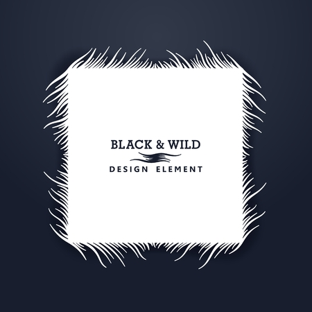 Black and Wild. Square composition from free form wavy lines. The motion effect. Vector design elements. Illustration