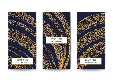 Set of rectangular flyers with a pattern of abstract yarns and fibers. Asymmetrical and two-color template.  Flat Vector design