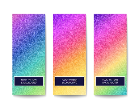 Three modern look banners with vivid multicolor design and elegant pattern. Vector illustration
