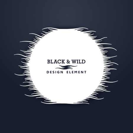 Black and Wild. Round composition from free form wavy lines. The motion effect on the horizontal.  Vector design elements.  Illustration