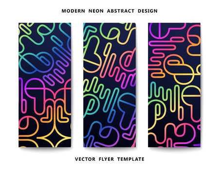 Сheerful bright flyer with futuristic pattern. Techno design. Vector banners template