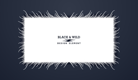 Black and Wild. Rectangular composition from free form wavy lines. The motion effect. Vector design elements.