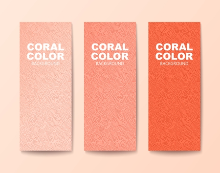 Three shades of coral color.Textured modern look banners with tangled pattern. Vector illustration