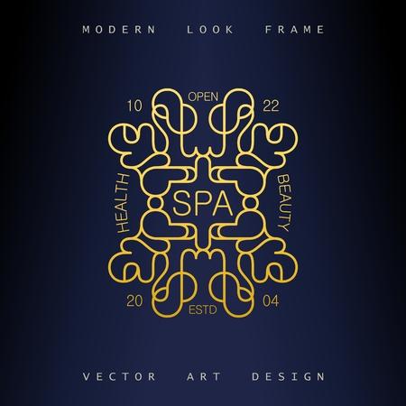Stylish linear art deco frame. Quirky but elegant design. Golden ornament. Vector template