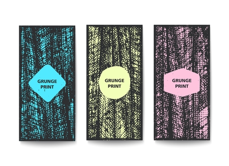 Simple vertical banners with grunge texture. Vector template design
