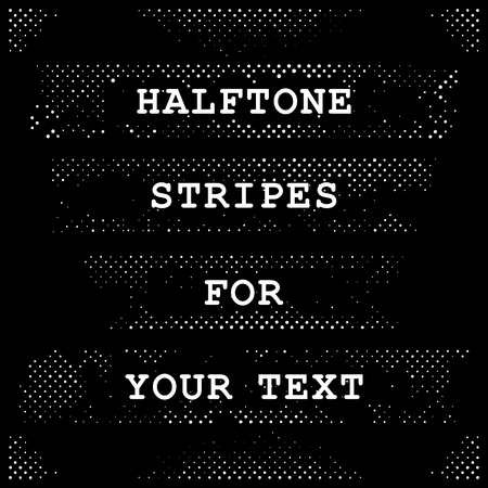 Halftone bands with free space for text. Vector design elements.