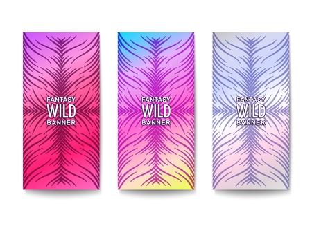 Stylish banners design. Wavy lines composition with fantasy pattern and vibrant coloration. Vector template