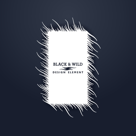 Black and Wild. Rectangular composition from free form wavy lines. The motion effect  on the diagonal.  Vector design elements.   Illustration