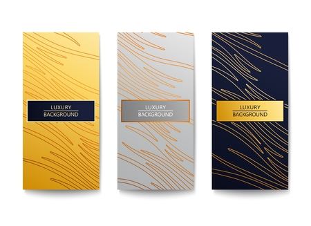 Three elegant luxury backgrounds. Modern graphic design with abstract lines pattern. Vector illustration Illustration