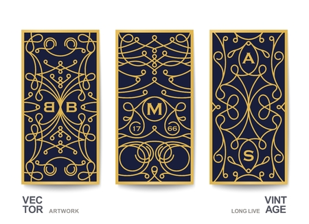 Ornate cards in vintage style. Template for fashion, luxury and media.  Linear a decorative pattern in classic style. Vector design Illustration