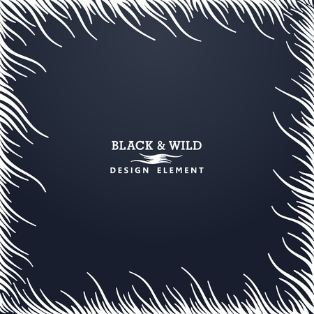 Black and Wild. Abstract composition from free form wavy lines.  The motion effect on the diagonal. Vector design elements.  Illustration