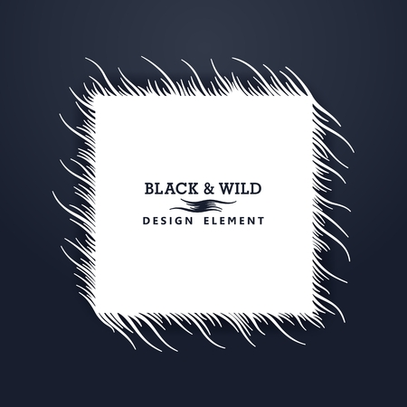 Black and Wild. Square composition from free form wavy lines. The motion effect on the diagonal.  Vector design elements.