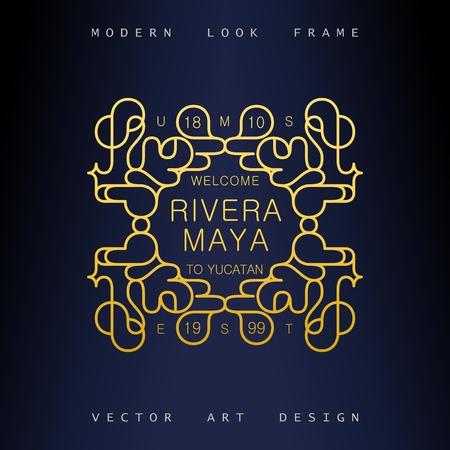Stylish Art Deco ornate frame. Creative and artistic emblem for design. Mono line style vector design elements