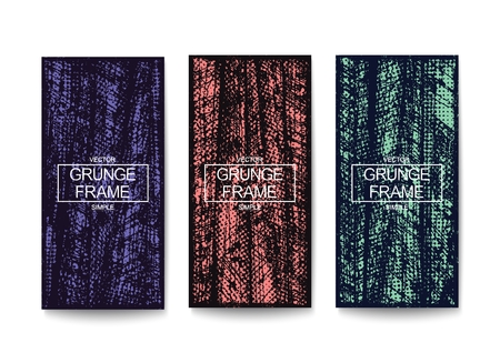 Three vertical banners with grunge texture. Vector template design Illustration
