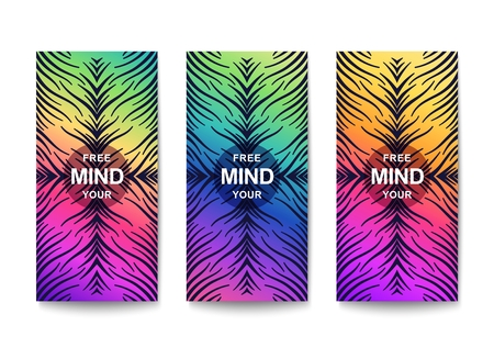 Free your mind. Creative motivation. Сheerful bright flyer with fantasy pattern. Vector template Stock Vector - 124890137