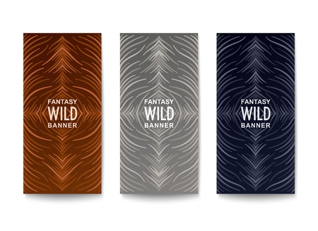 Stylish banners design. Wavy lines composition with fantasy natural pattern and coloration from wild life.  Vector template Illustration