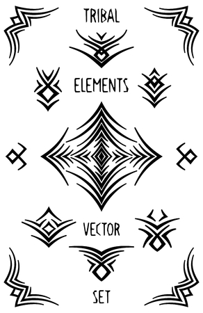 Set of abstract tribal decorations. Stylized vector design elements.
