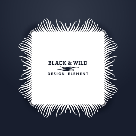 Black and Wild. Rectangular composition from free form wavy lines. The motion effect from the center.  Vector design elements. Illustration