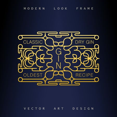 Stylish Art Deco ornate frame. Creative and artistic emblem for design. Mono line style vector design elements Stock Vector - 123753158