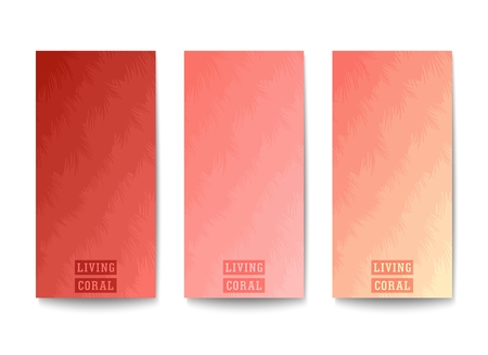 Layered backgrounds design. Layers of different tones trendy color - LIVING CORAL. Muted colors gradation.  Vector template  Illustration