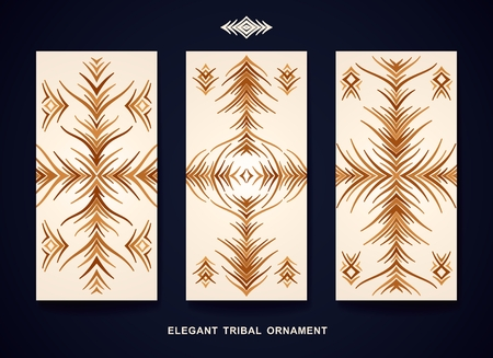 Vertical banners with fantasy pattern. Designed in the style of tribal ornaments. Vector template