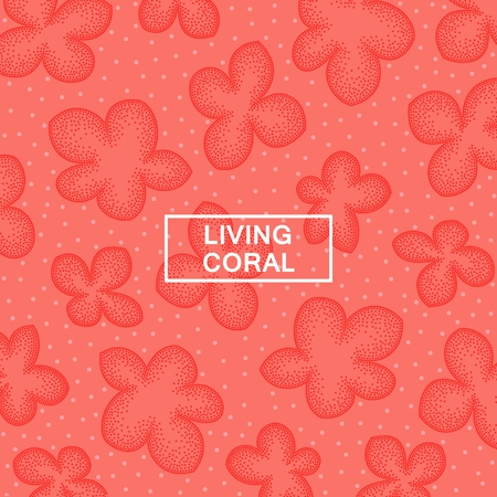 Abstract flowers pattern. Design in trendy stippling style. Vector template Illustration