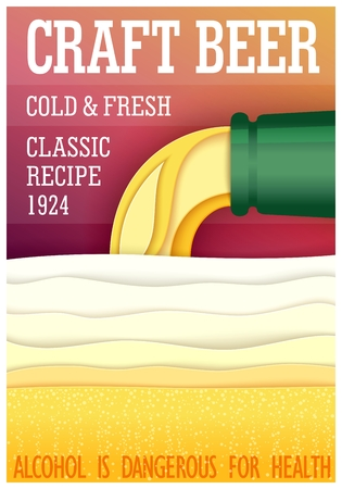 Conceptual poster design. Craft beer. Paper cut trendy style. Vector illustration