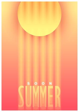 Conceptual poster design. Summer soon. Gradient graphic trendy style. Vector illustration Illustration