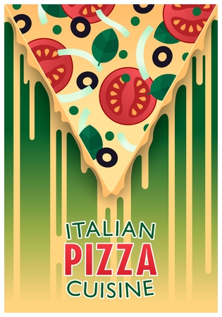Conceptual poster design. Italian pizza. Slice with chees. Semiflat trendy style. Vector illustration