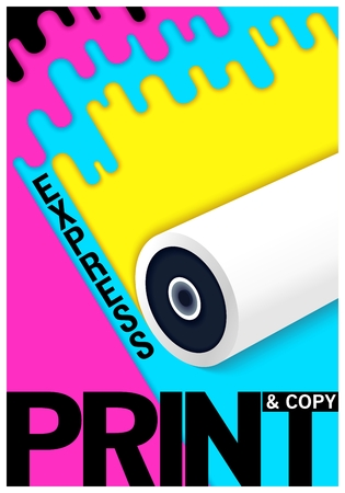 Conceptual poster design. Express print and copy shop. Semiflat trendy style. Vector illustration Illustration