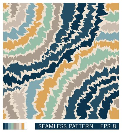 Seamless pattern design. Colorful wavy lines with rough jagged edges. Random cracked structure. Vector grunge texture.