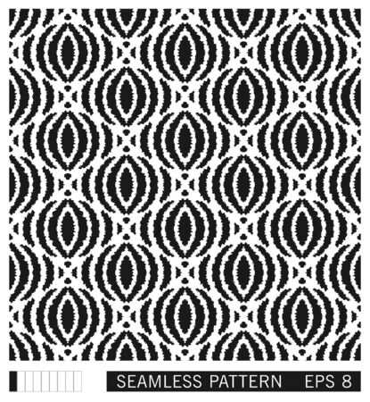 Hand draw ikat seamless pattern. Jagged folk elements ornament. Ethno motif. Vector texture design