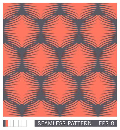 Seamless pattern. Symmetrical round shapes with rays. Floral motif. Retro halftone shading effect. Trendy vector texture design