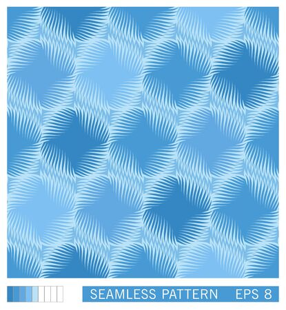 Seamless pattern. Symmetrical round shapes with spiral rays. Technological style of gearwheel. Trendy halftone shading effect. Vector texture
