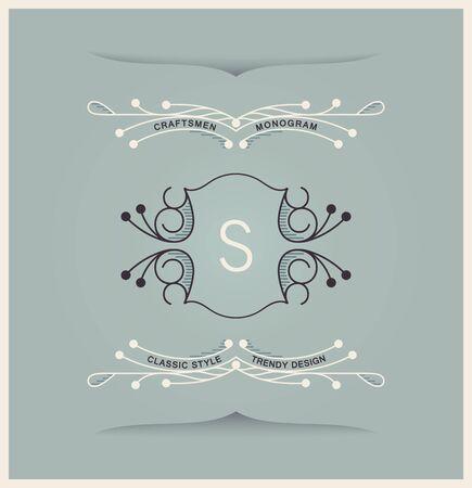 Linear vintage heraldry design. Monogram template. Elegant vector illustration