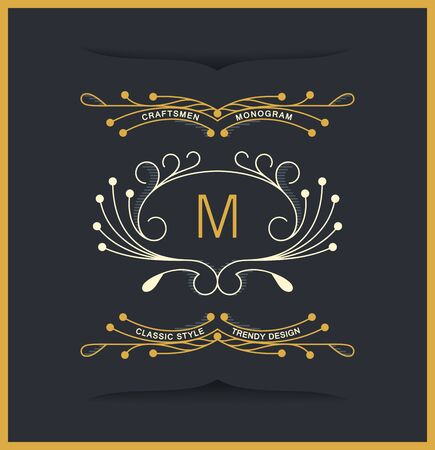 Curly monograms design in victorian style. Vintage vector insignia Stockfoto - 130834214