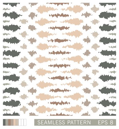 Seamless spotted pattern. Vector lacerated grunge stains and smudges. Painterly texture with stylized wildlife motifs. Illustration