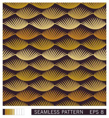 Floral seamless pattern. Stylized golden palm leaves ornament. Flat vector texture design. Geometric linear leafs.  Çizim