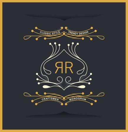 Elegant luxury antique coat of arms. Laconic twirl style. Vector linear design Stock Illustratie