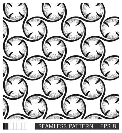 Abstract graphic print design. Vector seamless pattern. Repetitive ornament from twisted lines in a circle.