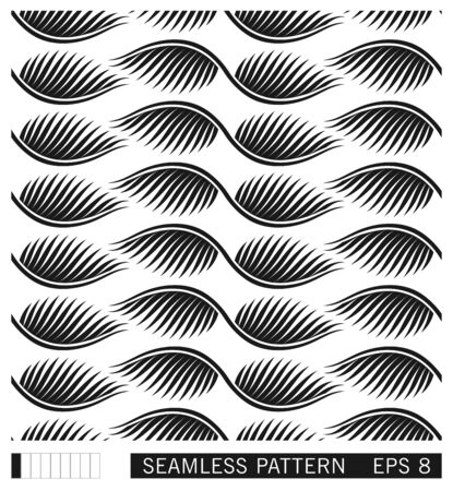 Floral seamless pattern. Stylized abstract palm leaves ornament. Flat vector texture design. Geometric linear leafs. Çizim