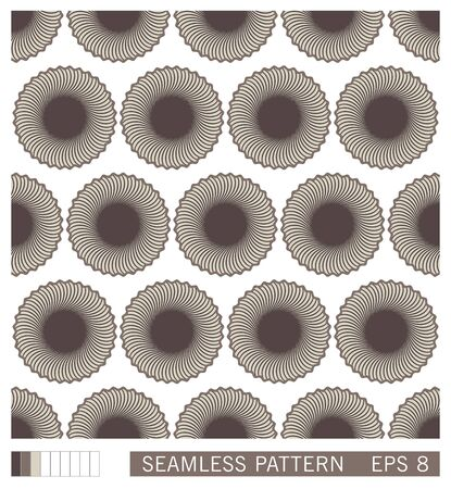 Seamless pattern. Abstract decoration from circles shapes. Monochrome stylized flowers. Vector texture design